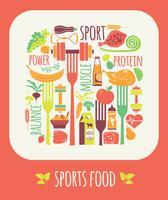 Ilustração do vetor do alimento dos esportes.