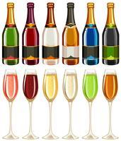 Taças de vinho e garrafa em muitas cores