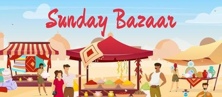 ilustração em vetor cor plana domingo bazar