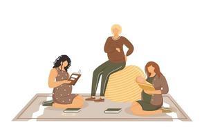 cursos para grávidas e mães jovens ilustração vetorial plana vetor