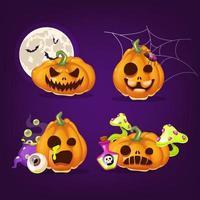 conjunto de ilustrações vetoriais de desenhos animados de abóboras de halloween vetor