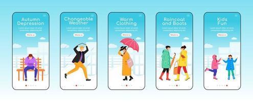 modelo de vetor plano de tela de aplicativo móvel em tempo chuvoso outono