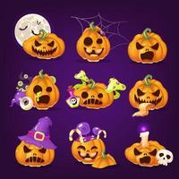 conjunto de ilustrações vetoriais assustadoras de abóboras de halloween vetor