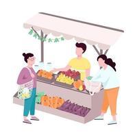 mercado de agricultores de rua ao ar livre personagens sem rosto vetor