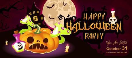 modelo de vetor de faixa plana de feliz festa de halloween