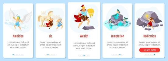 modelo de vetor de tela de aplicativo móvel integrado mitologia grega