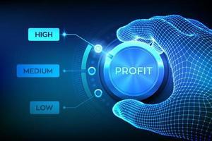botão de botão de níveis de lucro. aumentando o nível de lucro. vetor