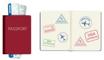 Passaporte e cartão de embarque vetor