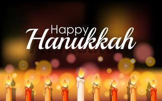 Feliz Hanukkah com luz brilhante em velas vetor
