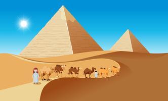 Cena do deserto com camelos e pessoas vetor
