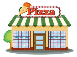 Uma pizzaria no fundo branco