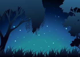 Cena da floresta à noite vetor