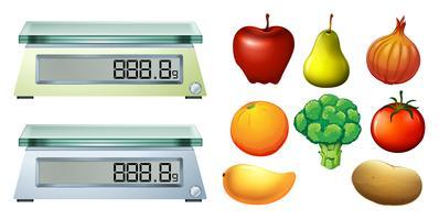 Frutas frescas e balanças de medição vetor