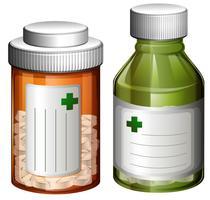 Um conjunto de frasco de remédio