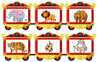Animais selvagens nas gaiolas de circo vetor