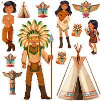 Índios americanos nativos e tenda vetor