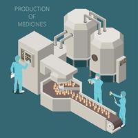 produção farmacêutica isométrica colorida vetor