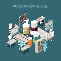 composição de produção farmacêutica isolada colorida vetor
