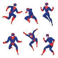 ilustração vetorial conjunto de poses de ação de super-heróis vetor