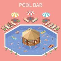 ilustração em vetor composição bar festa na piscina