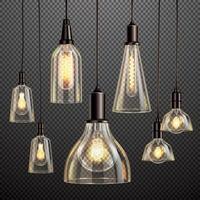 ilustração vetorial conjunto de lâmpadas vintage vetor