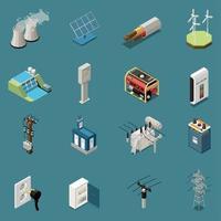 ilustração vetorial de coleção de ícones de eletricidade isométrica vetor