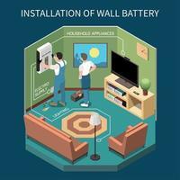 ilustração em vetor composição isométrica de bateria doméstica