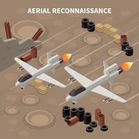 ilustração em vetor composição isométrica drones de reconhecimento