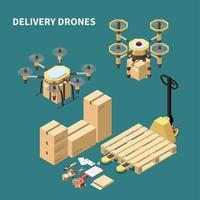 ilustração em vetor composição isométrica drones de entrega