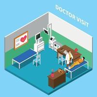 ilustração em vetor composição isométrica consulta médica