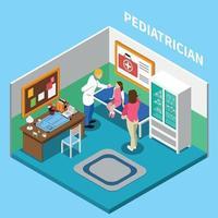 ilustração vetorial interior isométrica de escritório de pediatra vetor