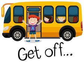 Um garoto sai do ônibus escolar vetor