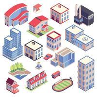 ilustração vetorial conjunto isométrico de edifícios da cidade vetor