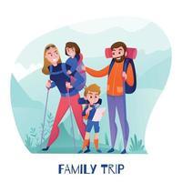 ilustração vetorial de ilustração de viajantes em família vetor