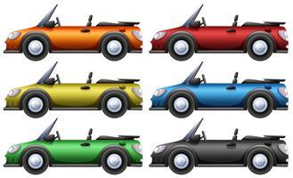 Carros conversíveis em seis cores vetor