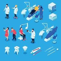 dentista isométrico definir ilustração vetorial vetor