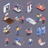 ilustração em vetor coleção ícones de dependência social