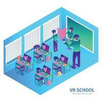 ilustração vetorial de composição de sala de aula de vr escola vetor