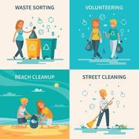 ilustração em vetor conceito plana de coleta de lixo