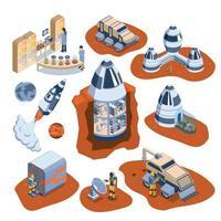 ilustração vetorial conjunto de ícones de colonização isométrica de Marte vetor