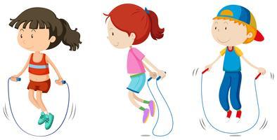 Conjunto de crianças pulando vetor