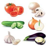 Fatias de vegetais realistas definir ilustração vetorial vetor