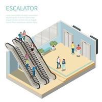 ilustração em vetor composição isométrica escada rolante