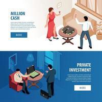 ilustração vetorial de banners isométricos para pessoas ricas vetor