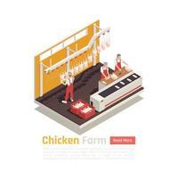 ilustração em vetor composição isométrica de fazenda de galinhas