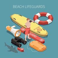 ilustração em vetor praia salva-vidas