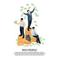 ilustração em vetor composição isométrica para pessoas ricas