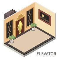 ilustração em vetor composição isométrica interior de elevador