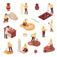ícones de arqueologia isométrica definir ilustração vetorial vetor