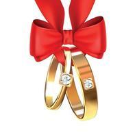 ilustração vetorial de alianças de casamento com laço de fita vermelha vetor